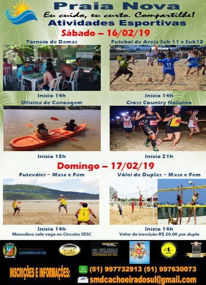 b4a84d24fb9 A Praia Nova terá várias atividades esportivas no final de semana. A  Secretaria Municipal dos Desportos levará para o balneário no sábado e  domingo (16 e ...
