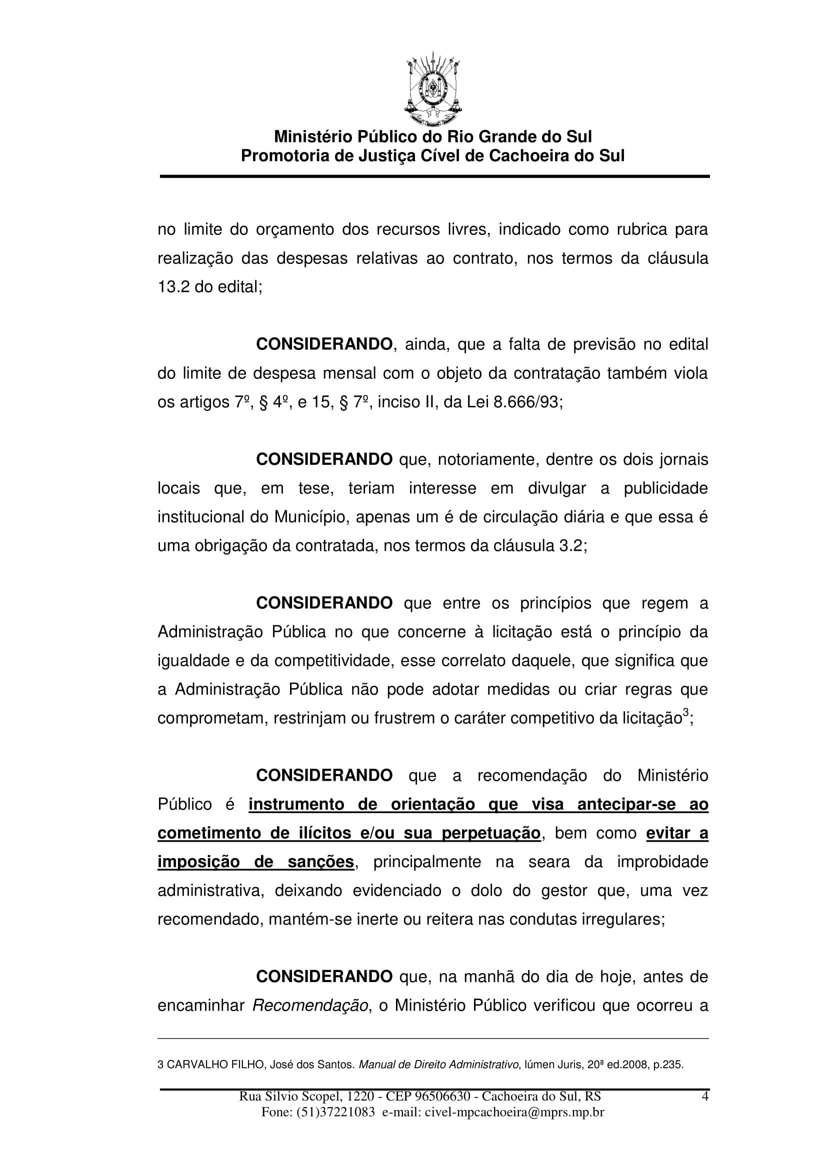 Ministério Publico de Cachoeira diz que Prefeitura deve