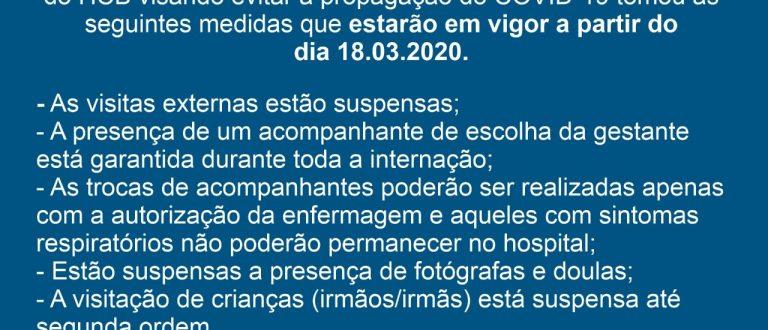 Hospital suspende visitas ao Setor de Maternidade