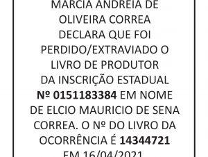PERDA/EXTRAVIO DE LIVRO DE PRODUTOR