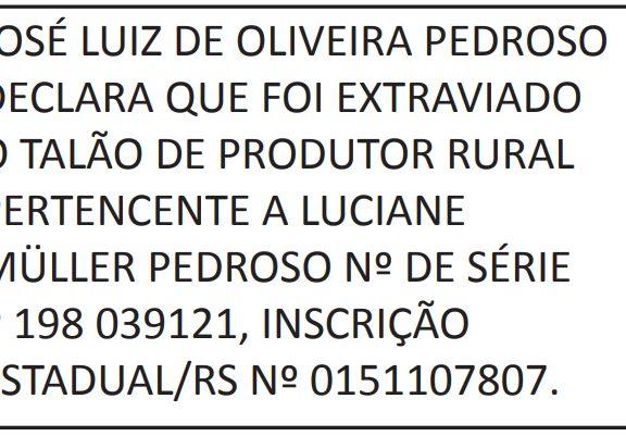 PERDA/EXTRAVIO TALÃO DE PRODUTOR