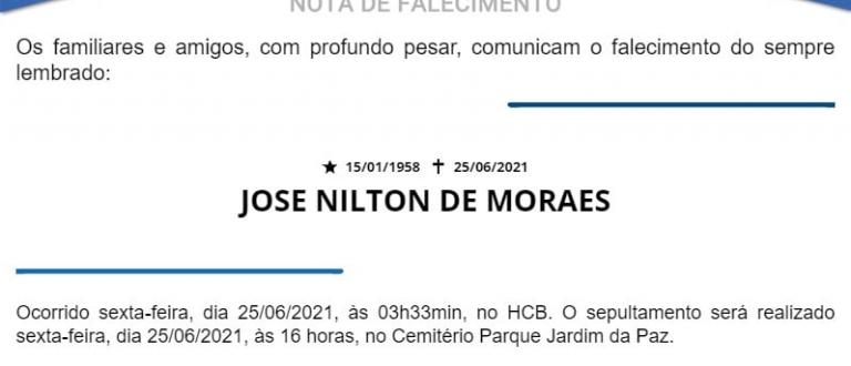 NOTA FÚNEBRE – JOSE NILTON DE MORAES