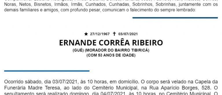 NOTA FÚNEBRE – ERNANDE CORRÊA RIBEIRO
