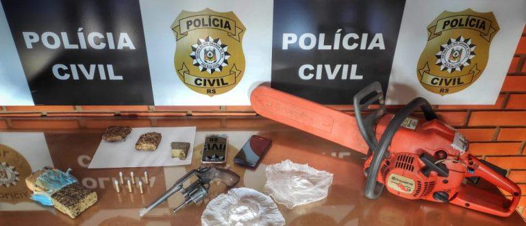 Santo Antônio: Polícia prende homem com cocaína, maconha e revólver