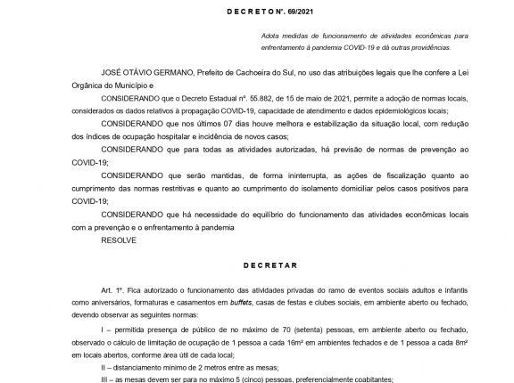 Prefeitura publica decreto com a liberação de eventos sociais