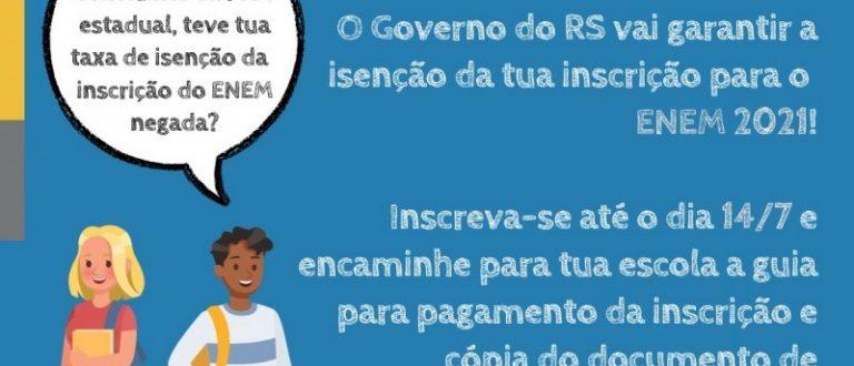 Governo do RS paga inscrição do Enem para alunos com taxa de isenção negada