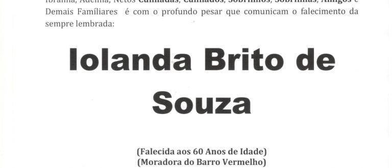 NOTA FÚNEBRE – IOLANDA BRITO DE SOUZA