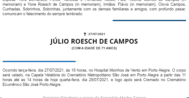 NOTA FÚNEBRE – JÚLIO ROESCH DE CAMPOS