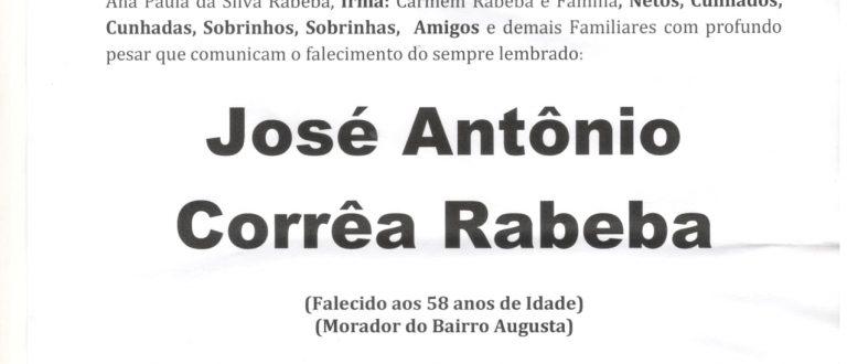 NOTA FÚNEBRE – JOSÉ ANTÔNIO CORRÊA RABEBA