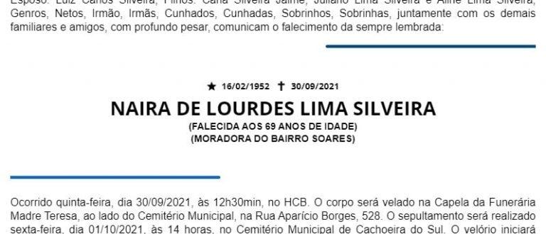 NOTA FÚNEBRE – NAIRA DE LOURDES LIMA SILVEIRA