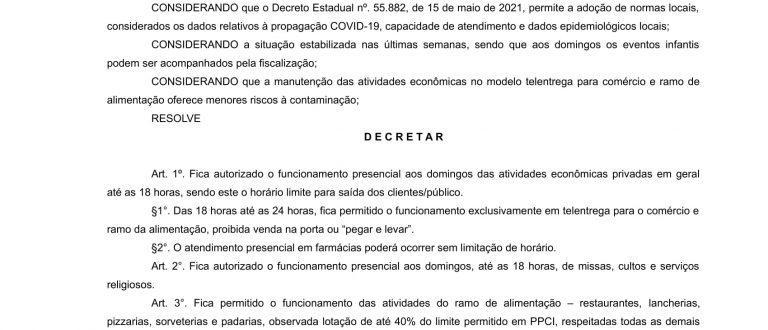 Prefeitura publica decreto com flexibilização de horário para atividades econômicas