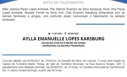 NOTA FÚNEBRE – AYLLA EMANUELLE LOPES KARSBURG (FALECIDA COM DOIS MESES DE IDADE)