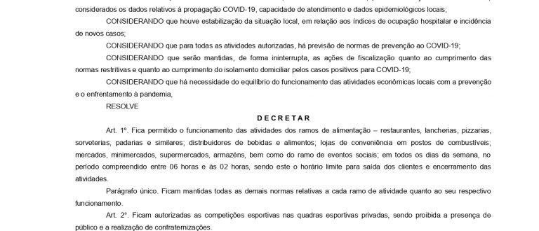 Novo decreto: confira as mudanças de horário para atividades