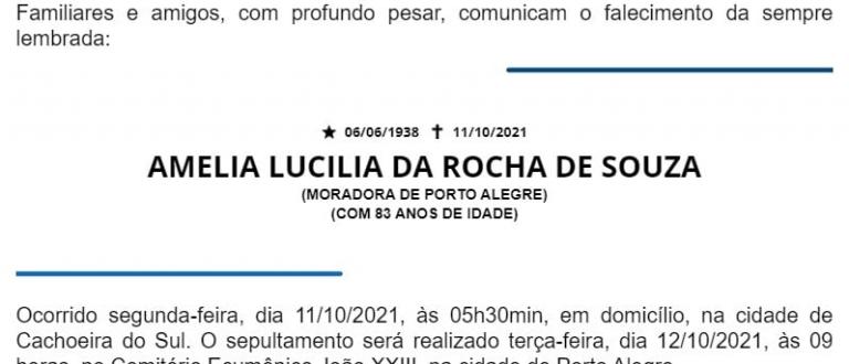 NOTA FÚNEBRE – AMELIA LUCILIA DA ROCHA DE SOUZA