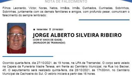 NOTA FÚNEBRE – JORGE ALBERTO SILVEIRA RIBEIRO